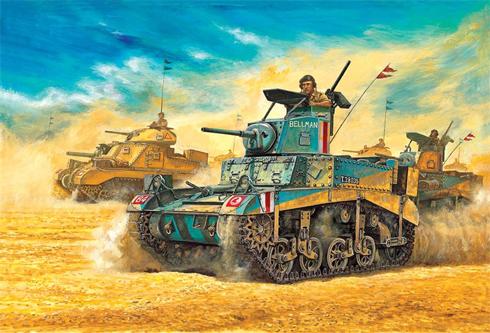 M3 Stuart-Honey, 8º Regimiento Reales Husares Irlandeses del Rey, 7ª División Acorazada, Bir-Hakeim, Libia, 1942.