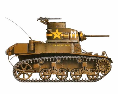 M3 Stuart perteneciente a la 1ª División Acorazada, Centro de Entrenamiento del desierto, Indo, California, 1942.