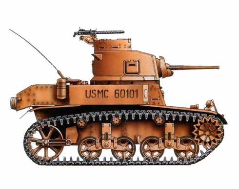 M3 Stuart, unidad de entrenamiento de los USMC, Midway, 1942.