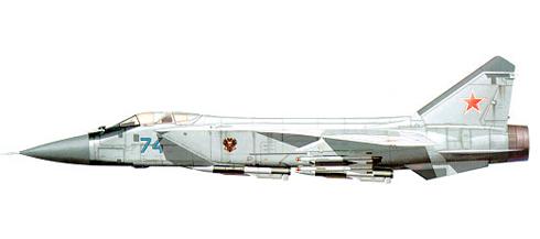 MiG-31 B, perteneciente al 786º IAP, 3er. AD VVS y PVO del distrito militar de Moscú, 1995.