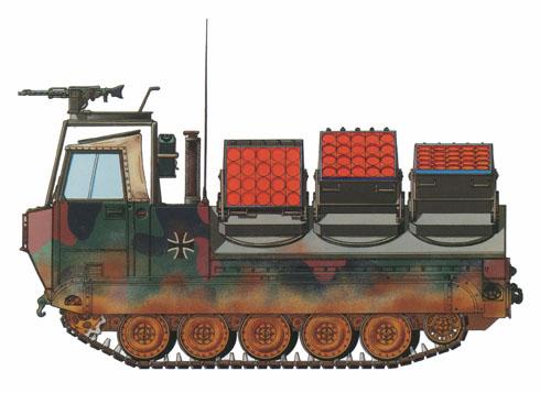Se han fabricado300 Minenwurf Panzer M548GA1 sobre el chasis del M113 para el Ejército Alemán, este vehículo es capaz de colocar unas 600 minas.