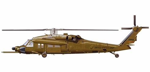 Sikorsky MH-60 K, transporte y reabastecimiento en vuelo con depósitos externos, monta radar de cúpula y antena SATCOM en el fuselaje.