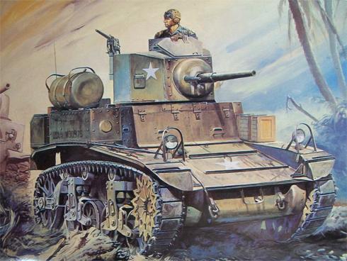 Tanque ligero M3 Stuart, en algún lugar del Pacífico.