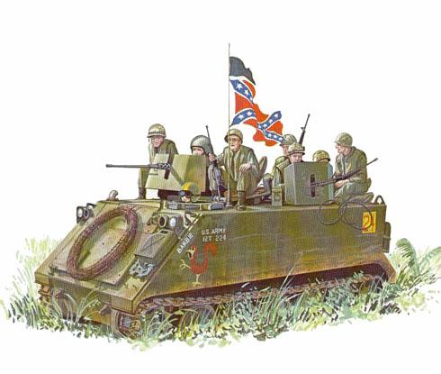 Un M113 de apoyo a una patrulla de Marines al Noroeste de Da Nang, Vietnam, 1970.