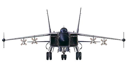 Vista frontal de un MIG-31 M Foxhound, va equipado con 4 misiles R-37 y 4 misiles R-77.