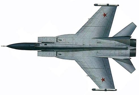 Vista superior de un MIG-31 M Foxhound, Fuerza Aérea Rusa, 1993.