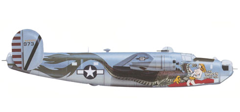 Consolidated B-24 J, 'The Dragon and his tail', 64º Escuadrón, 43º Grupo de Bambarderos, La Shima, 1945.