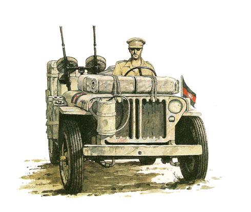 Jeep Willys MB, Patrulla G, LRDG, 1942.