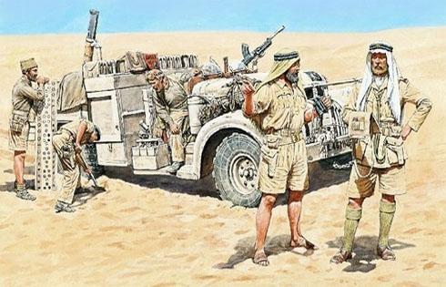 Patrulla Long Range Desert Group, en algún lugar del desierto de Libia, 1942.
