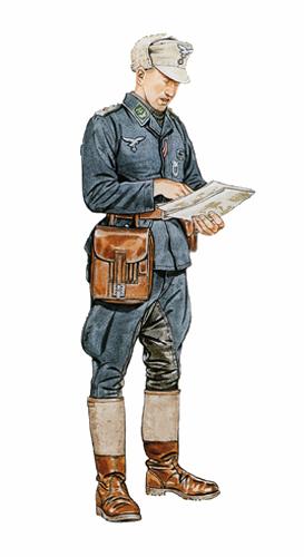 Oberleutnant, 9º Jäger Regiment 43, Unión Soviética, invierno de 1943.