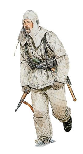 Este soldado perteneciente al 43º Regimiento, viste el uniforme completo de invierno, Frente del Este, 1943.