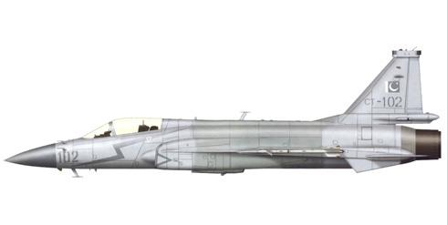 PAC JF-17 Thunder, con camuflaje estandar de las Fuerzas Aéreas de Pakistán, Islamabad, 2007.