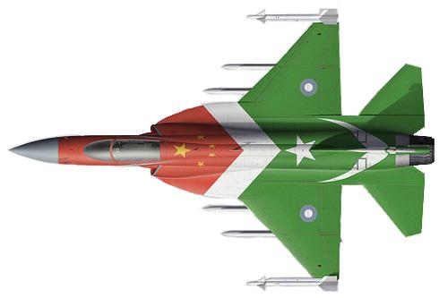 Vista superior de un Chengdu-PAC JF-17 Thunder, primer JF-17 de Pakistán con colores conmemorativos, Fuerza Aérea de Pakistán, 2007.