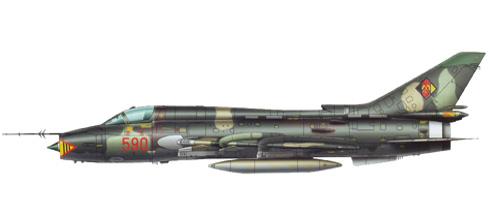 Sukhoi Su-22 M4 Fitter, Fuerza Aérea de la RDA, Laage, Alemania, 1988.