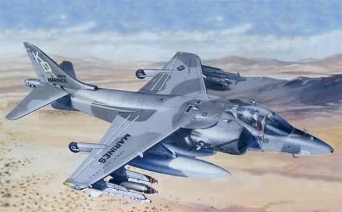Un Av-8 Harrier II, de los USMC sobrevolando el desierto.