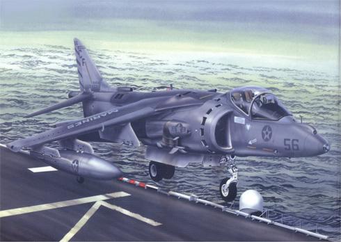 Un McDonnell Douglas AV-8 Harrier II de los USMC, despegando de la cubierta de un portaaviones de los EE.UU..