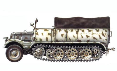 Zugkraftwagen Sd Kfz. 11, 80º Regimiento de artillería Panzer, 8ª División Panzer, Budapest, 1944.
