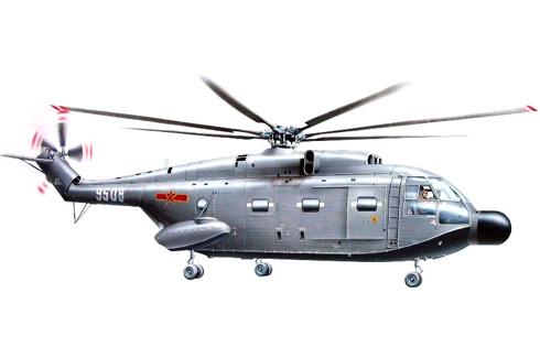 Aerospatiale SA-321 Changhe Z-8, perteneciente a la Armada del Ejército Popular de Liberación.