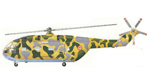Aerospatiale SA-321 Super Frelon, antes de la introducción de la bandera verde árabe de Fuerza Aérea Libia.