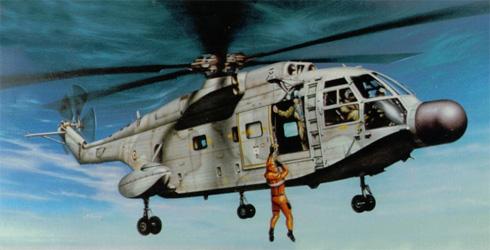 Aerospatiale SA-321 Super Frelon, realizando tareas de rescate, Marina Francesa.