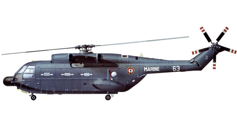 Aerospatiales SA-321 Super Frelon de la Aéronavale Francesa para la guerra anti-submarina.
