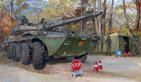 Vehículo blindado B1 Centauro del Ejército Italiano realizando un control.