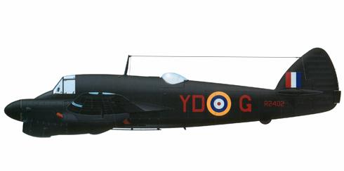 Bristol Beaufighter del 225º Escuadrón de la RAF, Coltishall, 1942.