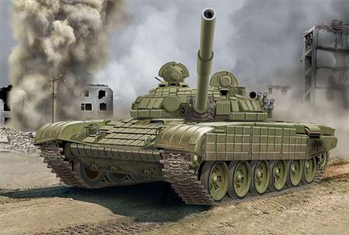 Este T-72 B lleva blindaje reforzado con ladrillos de ERA.