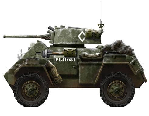 Hamber Mk.IV, este vehículo llevaba un cañón de fabricación USA de 37 mm., modelo M5 o M6, 1945.