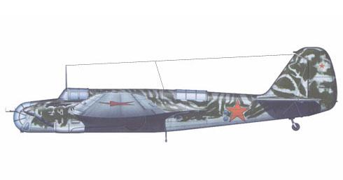 Túpolev SB-2M con el camuflage típico de la Fuerza Aérea Soviética, 1941.