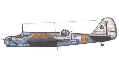 Túpolev SB-2M, perteneciente a la 2 LeLv6 con camuflaje de invierno, 1941.