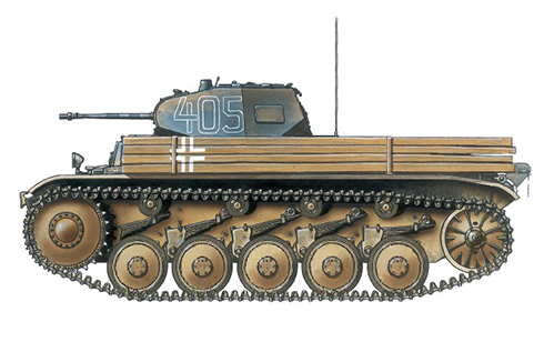 PzKpfw II Sd.Kfz.121 Modelo C, 27º Regimiento Panzer, 19ª División Panzer, Frente del Este, verano de 1941.