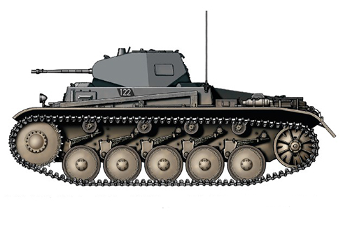 PzKpfw II Sd.Kfz.121 Modelo c, 5º Regimiento Panzer, 3ª División Panzer, Praga, 1939.