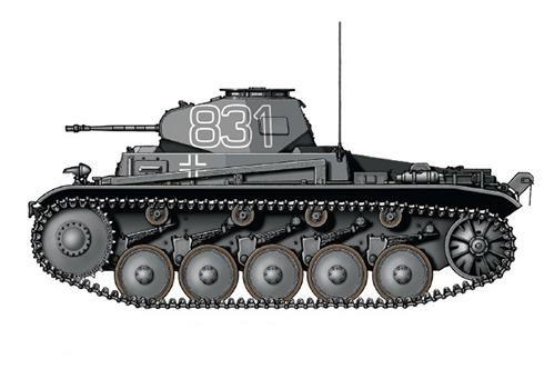 PzKpfw II Sd.Kfz.121 Modelo C, tanque de la 8ª Compañía del 5º Regimiento Panzer, 5ª División Leichte, Líbia, 1941.