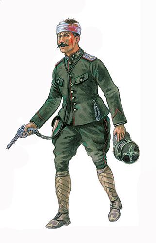 Capitán, Estado Mayor, Bélgica, principios de 1915, lleva un revolver Nagant M1878.