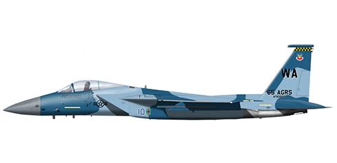 McDonnell Douglas F-15 C Eagle, 65º Escuadrón agresor, USAF, Base Aérea de Nellis, Nevada, 2007. Su camuflaje simula el de un Su-27 Flanker.