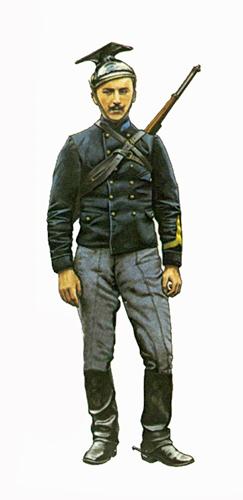 Soldado de 1ª clase, Regimiento de Lanceros, lleva un rifle Mauser Belga M1889, Bélgica, 1914.