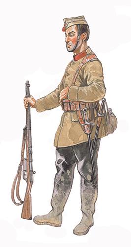 Soldado de Infantería de patrulla, Frente de Yser, finales de 1917.