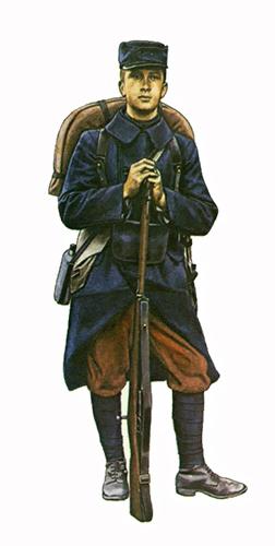 Soldado de Infantería, Frente de Yser, primavera de 1915, va armado con rifle Mauser Belga M1889 de 7,65 mm.
