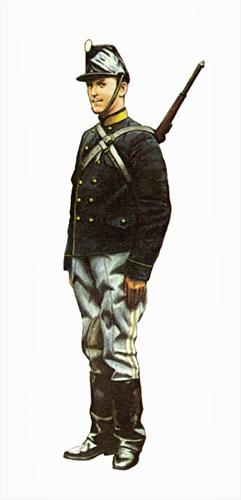 Soldado perteneciente al 1er. Regimiento de Fusileros a caballo, Bélgica, 1914.