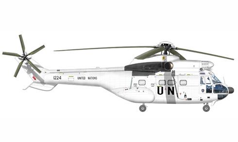 Atlas Oryx Mk.I Puma, 17º Escuadrón, Fuerza Aérea Sudafricana, pintado para United Nations.