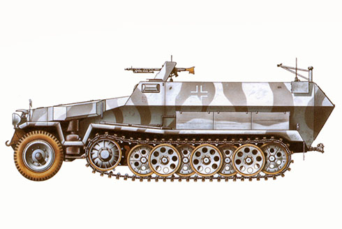 Sd.Kfz 251-1 Ausf. C, División Panzer SS Leibstandarte Adolf Hitler, Frente del Este, Kharkov, 1943.