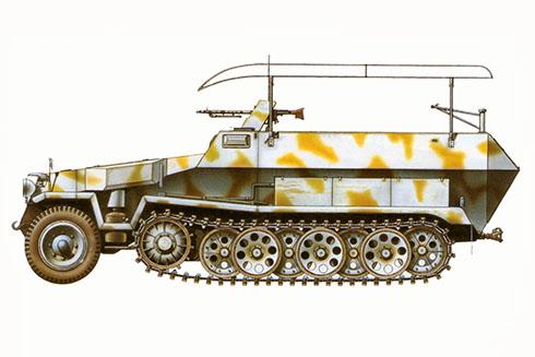 Sd.Kfz 251-3 Ausf. C, vehículo de mando, 5ª División Panzer, Este de Prúsia, Frente Oriental, 1945.