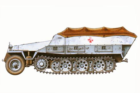 Sd.Kfz 251-8 Ausf. D, vehículo ambulancia, División Panzer SS Das Reich, Kharkov, Frente Oriental, 1943.