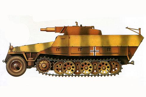 Sd.Kfz 251-9 Ausf. D, perteneciente a la 2ª División Panzer, Francia, 1944.