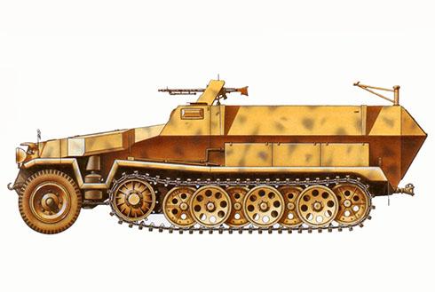 Sd.Kfz 251-a Ausf. C, perteneciente a la 10ª División Panzer, Túnez, 1943.