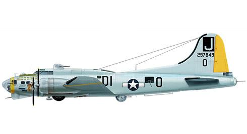 Boeing B-17G Flying Fortress apodado ''Liberty Belle'', 100º Grupo de bombarderos, 390º Escuadrón de bombarderos, Fuerza Aérea de los Estados Unidos, 1945.