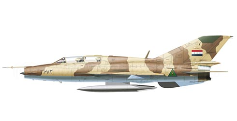 Mikoyan-Gurevich MiG-21 UM Fishbed,  33º Escuadrón, Fuerza Aérea de Irak, Base Aérea deTallil , 1991.