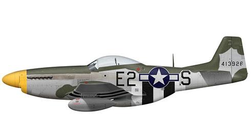 North American P-51 D-5 NA Mustang, 361º Grupo de Cazas, 375 Escuadrón de Cazas, Fuerza Aérea de los Estados Unidos, 1945.