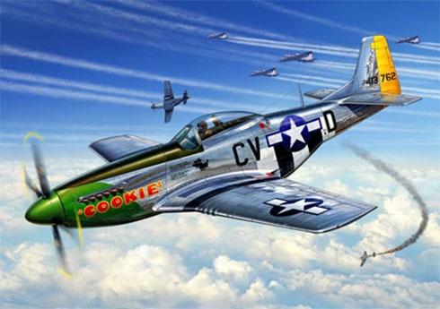 North American P-51 D del 368º Escuadrón de Cazas escoltando a los bombarderos B-17 Flying Fortress.